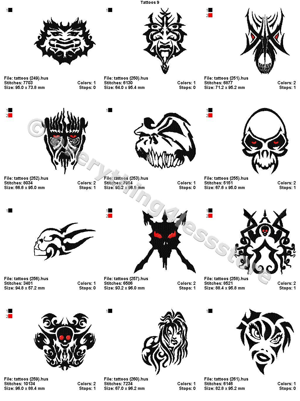 48 Tattoos 4x4 Volume 9 Mega Embroidery Designs On Cd Ebay